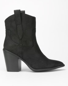 New Look Brady Leather-Look Western Calf Boots Black