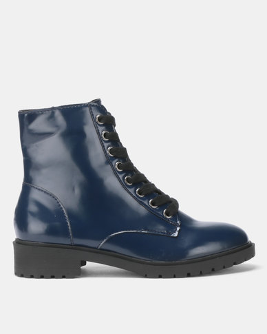 New Look Charles 4 Chunky Lace-Up Boots Navy