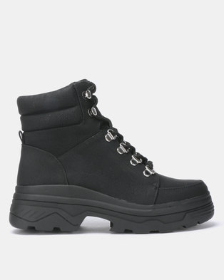 New Look Chunk Chunky Lace Up Hiker Boots Black