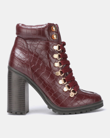 New Look Bolt Faux Croc Lace Up Boots Dark Red