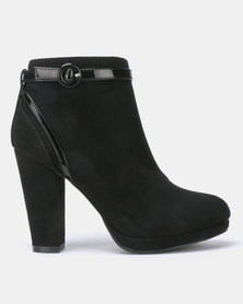 New Look Comfort Blossom Suedette Patent Trim Heeled Ankle Boots Black