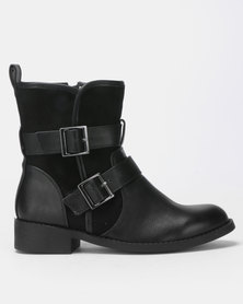 New Look Barking Borg Lined Biker Boots Black