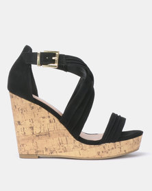 New Look Wide Fit Primer Suedette Cross Strap Wedges Black