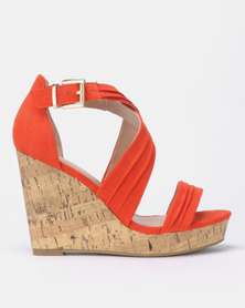 New Look Wide Fit Primer Suedette Cross Strap Wedges Orange Pattern
