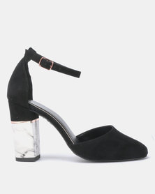 New Look Ritz Suedette Marble Effect Block Heel Sandals Black