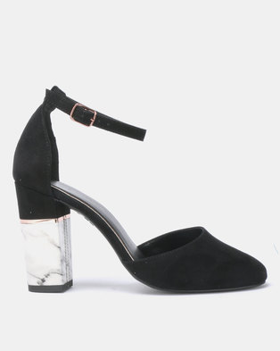 712ec2bf85f5 New Look Ritz Suedette Marble Effect Block Heel Sandals Black