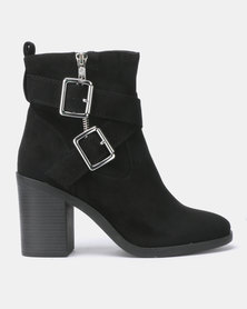 New Look Wide Fit Bar Suedette Buckle Cross Strap Boots Black