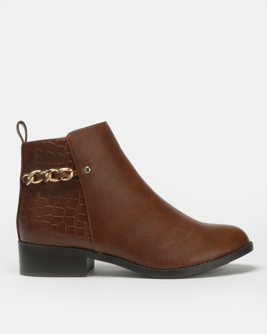 New Look Debbi Faux Croc Panel Chain Ankle Boots Tan