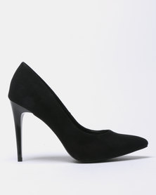 New Look Yummy 21 Suedette Stiletto Heel Court Shoes Black