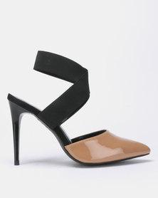 New Look Selastic 2 Patent Elastic Strap Heels Black Pattern
