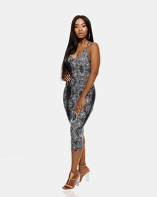 VADA Snake Skin Curve Sculpting Evening Dress