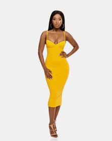 VADA Yellow Curve Sculpting Evening Bustier Dress