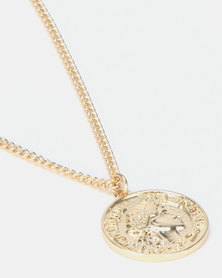 New Look Round Coin Short Pendant Necklace Gold-Toned