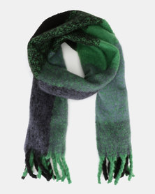 New Look Green Blue Check Scarf Green Pattern