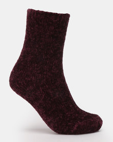 New Look Super Soft Chenile Socks Dark Purple