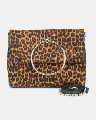 036d22b64b71 New Look Leopard Matilda Metal Hand Bag Brown Pattern