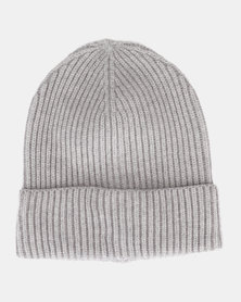 New Look Ribbed Beanie Mid Grey