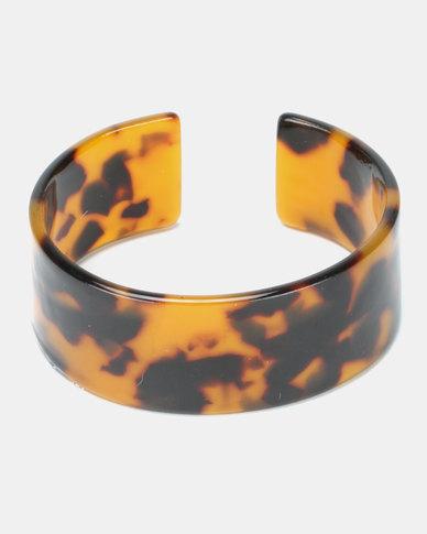 New Look Faux Tortoiseshell Cuff Bracelet Brown Pattern
