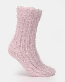 New Look Fangora Turn Down Cosy Socks Bright Purple