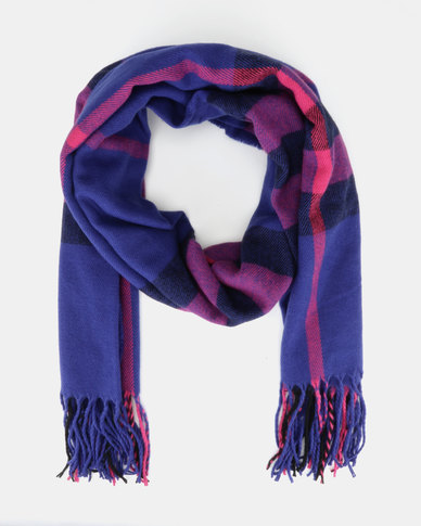 New Look Cobalt & Bright Pink Check Scarf Blue Pattern