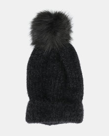 New Look Fluffy Faux Fur Pom Bobble Beanie Black