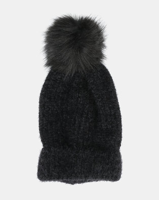 5515e83ea51 New Look Fluffy Faux Fur Pom Bobble Beanie Black