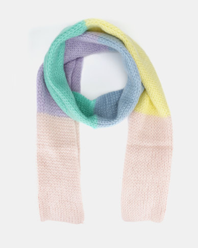 New Look Extra Long Knit Scarf Pink Pattern