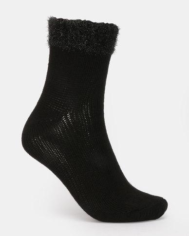 New Look Tinsel Cuff Socks Black