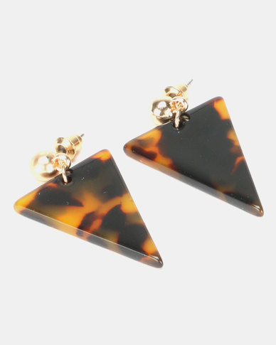 New Look Triangle Tort Acrylic Earrings Multi-Coloured