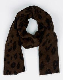 New Look Animal Scarf Dark Khaki