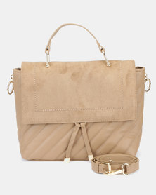 New Look Quita Quilted Satchel Crossbody Bag Camel