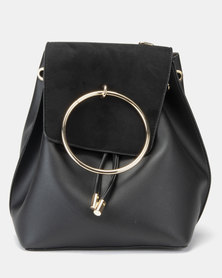 New Look MO Metal Ring Backpack Black