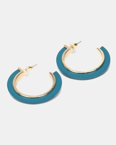 New Look Resin Metal Inlay Hoop Earrings Multi