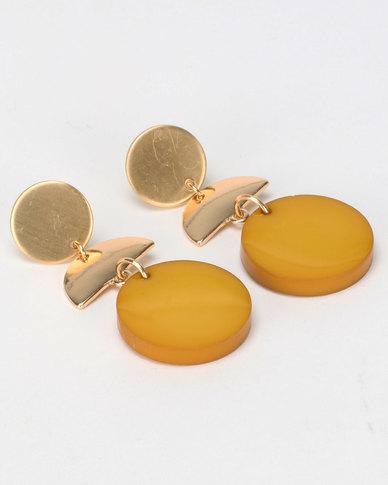 New Look Geo Resin Disc Earrings Gold-Toned