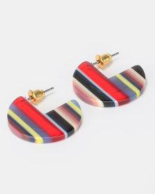 New Look Stripe Resin Solid Hoop Earrings Bright Red