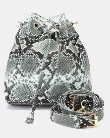 New Look Faux Snake Mini Duffle Bag Dark Grey
