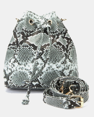 f5f1906bd649 New Look Faux Snake Mini Duffle Bag Dark Grey