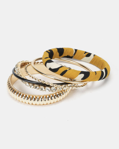 New Look Leopard Wrapped Bangle Multi