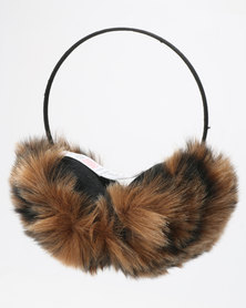 New Look Leopard Ear Muffs Brown Pattern