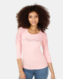 Sissy Boy Lace Sleeve Feminine Top Pink