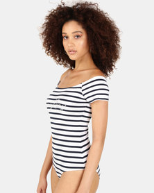 Sissy Boy Bardot Stripe Bodysuit Navy/White