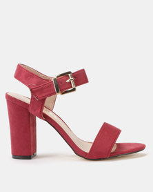 Utopia Block Heel Sandals Burgundy