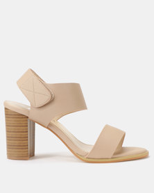 Utopia Stack Block Heel Sandals Nude