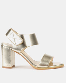 Utopia Stack Block Heel Sandals Gold