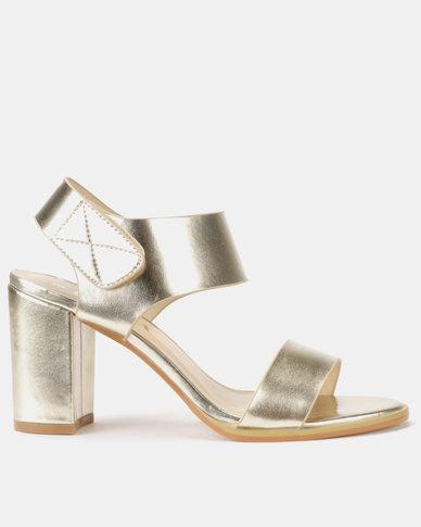 Utopia Stack Block Heel Sandals Gold