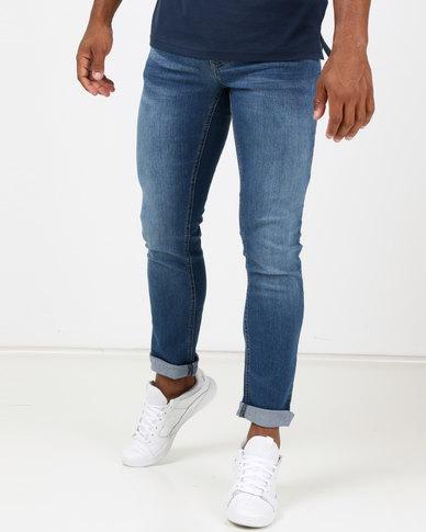 Life & Glory Basicon Medium Wash Stretch Slim Jeans Blue