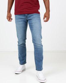 Life & Glory Basicon Light Wash Stretch Slim Jeans Blue