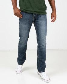 Life & Glory Race Medium Wash Straight Jeans Blue