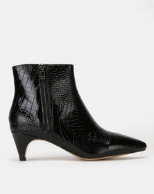 Public Desire Atomic Patent Faux Croc Boots Black