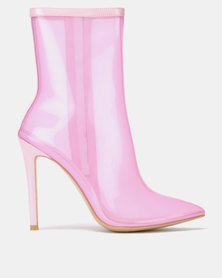 Public Desire Sheer Patent Perspex Boots Pink